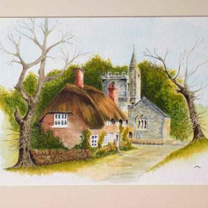 Tess Cottage & St. Osmund Church, Evershot is an original painting for sale by local Dorset artist Maryanne Pitman.