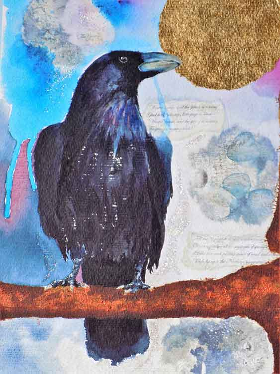The Crow is an original painting for sale by local Dorset artist Maryanne Pitman
