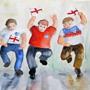 Painting of Three happy and cheering football supporters waving English flags!