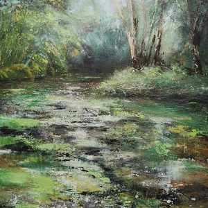 NEW FOREST GREENS, original acrylic painting Sue Clifford