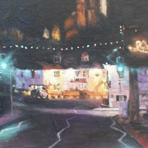 Christmas in Corfe original painting by Ian Hargreaves