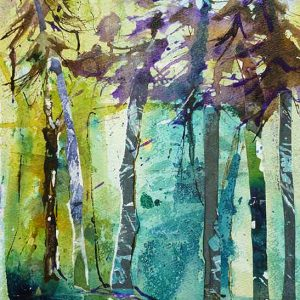 Pines on the Hill original mixed media by Caroline Nairn on sale online